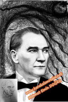 Düşük çözünürlüklü Atatürk fotoğraflarının,karakalem çizilerek netleştirilmesi   KARAKALEM RESİM-2.Alttaki ikinci Atatürk resmi,çalışmasındada orinal fotoğrafa sadık kalınarak netleştirilmeye çalışıldı.Göğüs hizasında duran papyonu kapatan şabka kaldırıldı.