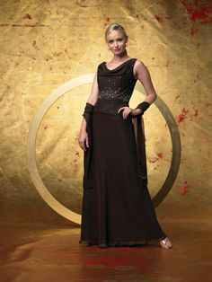 2015 V-neck Ankle Length Sleeveless Brown Ruched Shawl Beading Chiffon Mother of the Bride Dresses MBD0021