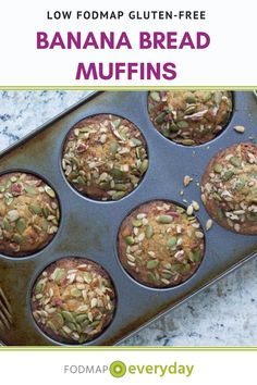 Our low FODMAP Banana Bread Muffins are even safe for the Elimination Phase – and we use ripe bananas! #dairyfree #glutenfree #vegetarian #breakfastrecipe #healthyrecipe  #lowfodmapdiet#fodmap #lowfodmap #fodmapeveryday #ibs #ibsdiet
