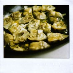 Chez Panisse: Braised Baby Artichokes with garlic, thyme and Parmesan
