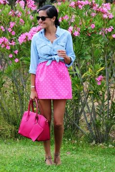 essential blue jean shirt & pink polka dots