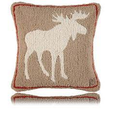 Khaki Moose Hand-hooked Pillow by Artist Laura Megroz