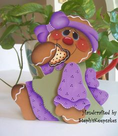 Hand Painted Gingerbread Girl Shelf Sitter by stephskeepsakes, $13.95