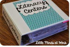 Freebie literacy & math center binder covers!