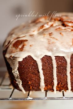 Apple Butter Bread with Cinnamon Glaze    by sprinklewithflour #Bread #Apple_Butter #Cinnamon