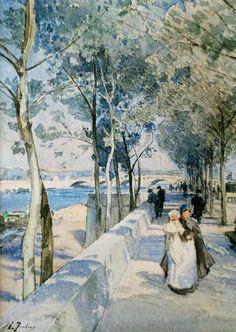 """Et @tiquetaki: @henri_zuber: Dock and nurse in Paris - H. Zuber - around 1900  Priv. coll.  """""""
