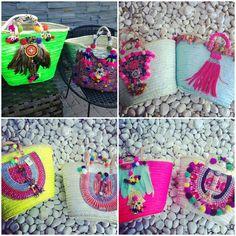 EL RINCÓN DE ANATXU: HIPPIE SOUL Ibiza Fashion, Diy Fashion, Diy Sac, Diy Handbag, Boho Bags, Fabric Bags, Summer Bags, Handmade Bags, Straw Bag