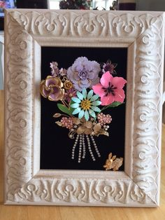 Vintage & Costume Jewelry Framed Flower by NotTooShabbyDesignCo