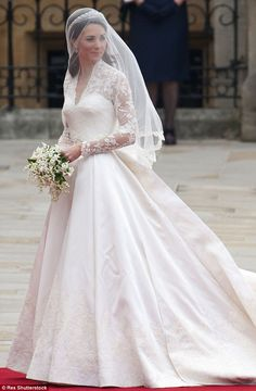 Kate Middleton wed Prince William in 2010 wearing a gown designed by Sarah Burton for Alex...