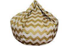 Chevron Bean Bag Chair Metallic Gold by ChoosyShop on Etsy