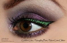 TBN's Golden Lilac and Naughty Plum pigments, with Neon Lime glitter, by SoRy!