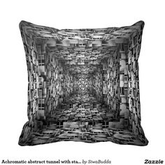 Achromatic abstract tunnel with stairs throw pillow