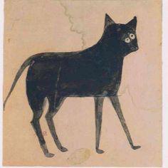 Bill Traylor (1854-1949). Two-Eyed Black Cat. Circa 1939-1942.