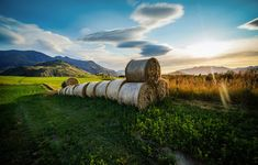This was from my first Autumn in Queenstown. I watched these fields grow all summer long, and it's cool to watch them all be cut down and rolled into these nice bales of hay. - Queenstown, New Zealand - Photo from #treyratcliff Trey Ratcliff at http://www.StuckInCustoms.com