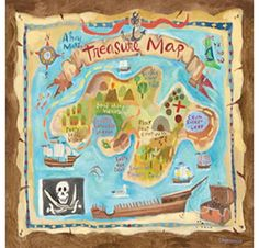 Create a vibrant scene in any room with the Treasure Map Canvas Wall Mural from Oopsy Daisy. This Canvas Wall Mural features a fun, playful design that will take your child's room from drab to fab! Pirate Treasure Maps, Pirate Maps, Pirate Theme, Pirate Party, Treasure Chest, Map Canvas, Canvas Wall Art, Kids Wall Murals, Mural Wall