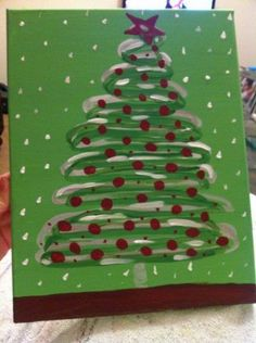 Christmas Tree Canvas with Red