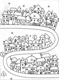 Simple Life City of Dreams, dreams simple Colouring Pages, Adult Coloring Pages, Coloring Books, Doodle Drawings, Doodle Art, Drawing For Kids, Art For Kids, Doodles, House Quilts