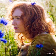 Demelza hidden in the forget-me-nots, watching Ross work the fields. #Poldark (2015) 1x3. #EleanorTomlinson #WinstonGraham #PoldarkPBS