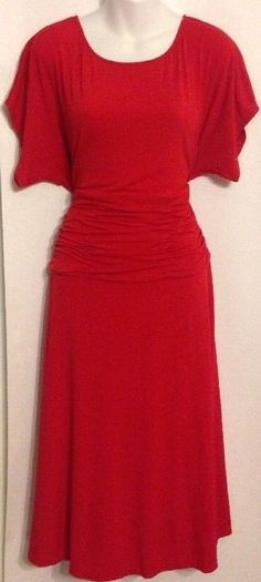 Coldwater Creek Slze 14 Red Dress Empire Waist Short Sleeve Stretch Poly Blend #ColdwaterCreek #FullyLinedEmpireWaist #Cocktail #Dress #WomensFashion