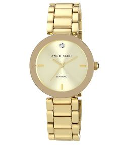 $75.00 Anne Klein Watch, Women's Diamond Accent Gold-Tone Bracelet 32mm AK-1362CHGB - Women's Watches - Jewelry & Watches - Macy's