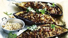 To save on washing up, cut two large eggplants in half and scoop out the flesh. Brush with olive oil, season, cover with foil and bake in a medium oven for minutes. Roughly chop the flesh and put to one side. Baked Eggplant, In The Flesh, Wine Recipes, Oven, Pork, Eggplants, Meat, Chicken, Baking