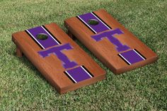 Our Tarleton State Texans Cornhole Game Set Rosewood Stained Stripe Version. Get your custom set at victorytailgate.com