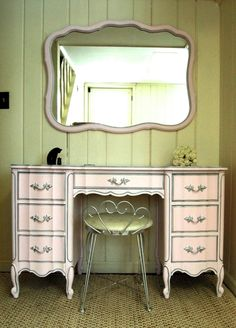 Pink French Provincial Vanity. Color: I love you pink by Benjamin Moore. The Wood Spa