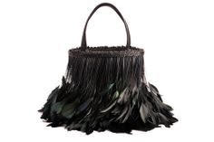 Texture: the feathers are very unique and gives it volume and can be very distracting. The texture to this handbag would be smooth, because of the material used.