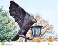 Park Landscape In Autumn.Owl (Bubo Virginianus) Bronze Owl Statue. - Download From Over 40 Million High Quality Stock Photos, Images, Vectors. Sign up for FREE today. Image: 46743816