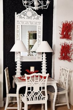 Chinoserie chair white paint black and white striped fabric