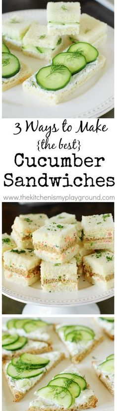 Cucumber tea sandwiches One made with vegan cr cheese. other no mayo use Greek yogurt Cucumber Tea Sandwiches ~ use first two recipes. See notes on iPad for recipes Tea Recipes, Cooking Recipes, Snacks Recipes, Sandwich Recipes, Cucumber Recipes, Recipies, Cucumber Tea Sandwiches, Finger Sandwiches, Tea Party Sandwiches