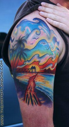 8a119e3b1c5c1 beach tattoo designs minus the palm tree and the bora bora in the  background.make it more cali coastal