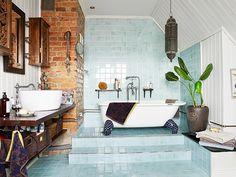The Bohemian Bathroom: 10 Ways to Get the Look blue tiles, brick walls, vintage fixtures Bad Inspiration, Bathroom Inspiration, Interior Inspiration, Bathroom Inspo, Interior Ideas, Bathroom Ideas, Home Interior, Interior And Exterior, Interior Design