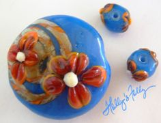 Apache Tuquoise Glass Bead Set Lampwork by HollysFollyGlass, $29.00