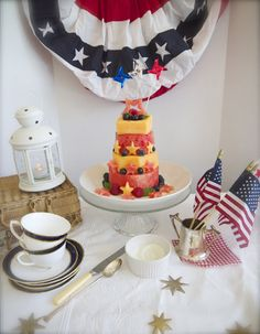 "July fourth dessert table with watermelon ""cake"""