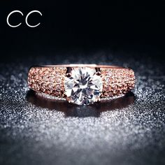 9 18K Rose Gold Plated Rings for women Trendy vintage Engagement Rings Fine Jewelry Accessory 18KR003