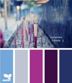 Whether you're looking to decorate a room, choosing wedding colors, starting a new design project, or just wanting some general color inspiration, the design seeds site is a great place to start gathering ideas. :)  I love, for instance, the purples and blues in their Incense Tones palette (above), via Design Seeds: http://www.design-seeds.com/