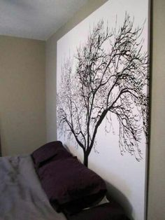 Cool concept  giant wall art made out of a shower curtain and recycled cardboard Styrofoam or canvas board and a staple gun