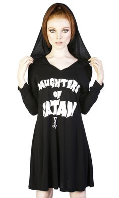 Daugthers of Satan hooded dress #disturbiaclothing disturbia dress front print alternative goth occult witch