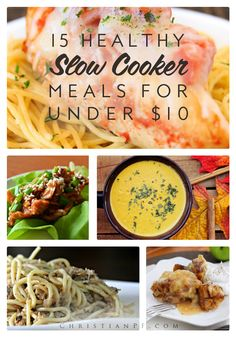 15 healthy slow cooker meals you can make for under $10...Fall is the perfect time to break out the slow cooker.  I love that my family and I can still have healthy, home cooked meals for dinner, without the fuss and cleanup of actually preparing a huge meal every night.  Slow cookers are the perfect tool for a busy family and can help you save time and money.  These simple and healthy meals are easy to throw into the slow cooker in the morning, making your evening hassle free. Best of all…