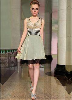 In Stock Stylish A-line V-neck Neckline Raised Waistline Homecoming Dress 6042