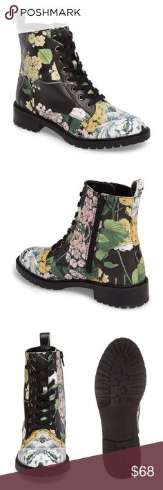 """LOOK NEW! FLORAL OFFICER BOOTS This hot ankle boot is a shoe that'll never go out of style! Wear with your maxi dresses or sexy cut off shorts. +Faux Leather upper with a lace-up front for adjustability +5"""" shaft height +Side zip closure +Lightly cushioned footbed +Man-made sole +1-1/4"""" heel height +NWOB-Never worn  Bundle Discount ^ No Trades ^ Make Offers Thur Offer Button ^ Have a question? Please Ask! Steve Madden Shoes Combat & Moto Boots"""