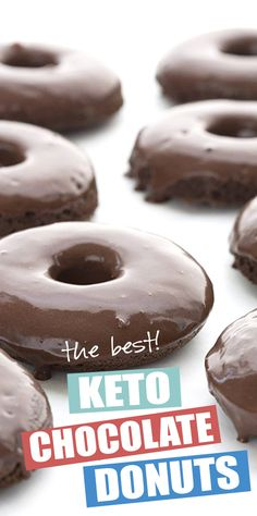 Your healthy donut dreams have come true! Tender and cakey chocolate donuts with a rich chocolate glaze, and less than total carbs per serving! Made with coconut flour so they are nut-free too. A delicious low carb breakfast treat. Keto Cookies, Donuts Keto, Healthy Donuts, Low Carb Doughnuts, Healthy Low Carb Dinners, Healthy Food, Low Carb Donut, Low Carb Sweets, Low Carb Desserts
