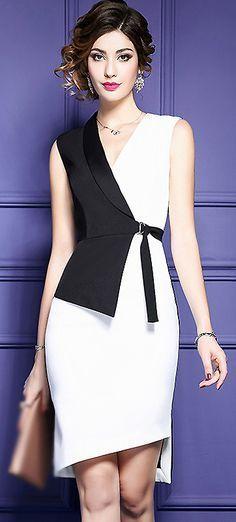 Fashion V-Neck Hit Color Belted Bodycon Dress