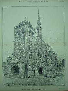 Church of Locronan , Brittany, France, EUR Unknown, architect(s). From the American Architect and Building News, December 26, 1896. 17.25 by 13 inches. VG+ condition with light browning along the edge