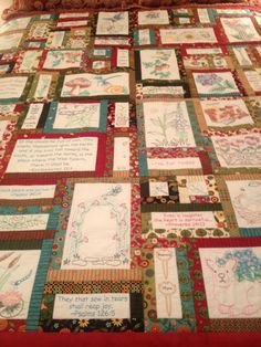 How To Make Machine Embroidered Quilt Labels This Is The Prayer Garden Quilt Designed By Anita Goodesign And Is Embroidered With Machine Embroidery Machine Embroidery Quilt Block Of The Month Machine Machine Embroidery Quilts, Embroidery Sampler, Vintage Embroidery, Machine Embroidery Designs, Hand Embroidery, Panel Quilts, Quilt Blocks, Prayer Garden, Vintage Quilts