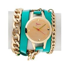 Boum Emballage Ladies Multi-Wrap Bracelet watch (400 DKK) ❤ liked on Polyvore featuring jewelry, watches, turquoise, wrap wrist watch, wrap watches, dial watches, wrap bracelet watch and green turquoise jewelry