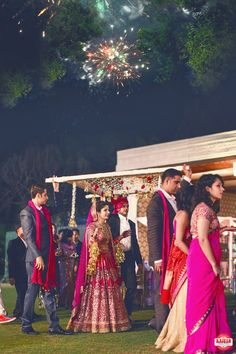 Bridal Entry under Phoolon Ki Chadar and Fireworks