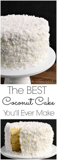 Coconut Cake | This easy coconut cake recipe is moist and delicious and uses fresh coconut! The traditional southern recipe makes a perfect Easter dessert, Christmas dessert, or just an amazing cake for a party! This three layer coconut cake is beautiful and delicious!