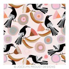 Magpie and Gum blossom in pretty new colours © Jocelyn Proust #magpie #textiledesign #jocelynproustdesigns #printandpattern #australianbirds #australiandesigner